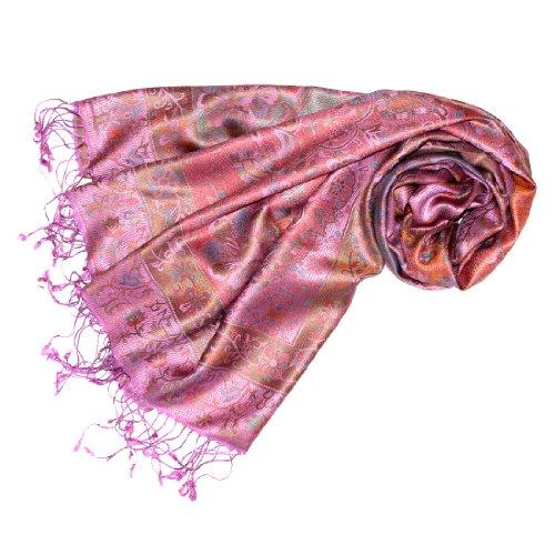 LORENZO CANA Pashmina pour la femme - écharpe de 100% soie avec les mesures de 70 x 190 cm - fait à la main - souple élégant en rose vif bonbon violet beige marron bleu