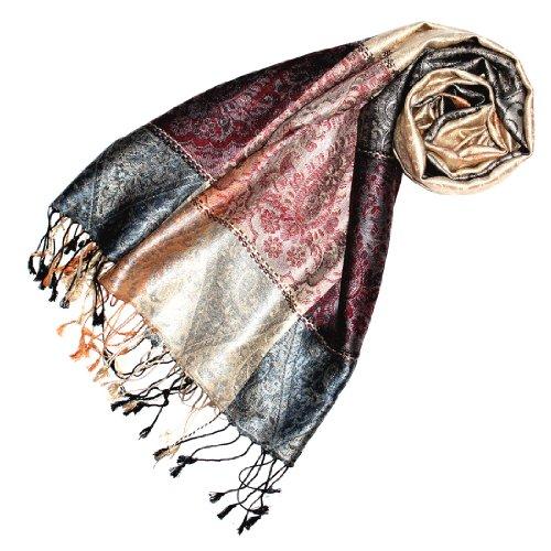 LORENZO CANA Pashmina pour la femme - écharpe de 100% soie avec les mesures de 70 x 190 cm - fait à la main - souple élégant en beige gris argenté bleu bordeaux saumon
