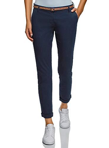 Femme Pantalon Chino avec Ceinture, Bleu, FR 40 / M