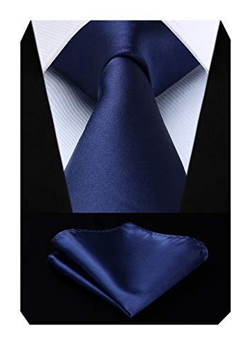 Cravate bleu marine solide Mouchoir Fete de mariage Cravate classique & Carre de poche Set bleu marin