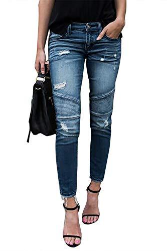 Femme Jeans Déchiré Push Up Skinny Slim Fit Stretch Boyfriend Denim Jean Troué Pantalons Jeggings Pants Casual Rétro (Bleu Clair, Large)