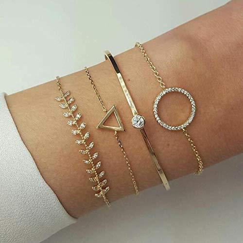 Cadeaux bijoux : Cerceau Creux Bracelet Ouvert Terminé Large Bracelet Manchette Avec Bracelet En Cercle Feuille Triangle Pour Femmes Et Filles (4 Pièces) (Or)