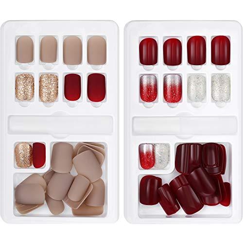 60 Pièces Faux Ongles Faux Ongles Courts Artificiels Kit de Bouts d'Ongle de Champagne Rouge Foncé 12 Tailles en 2 Boîtes Couverture Complète avec Autocollant de Colle d'Ongle Fichiers Collent