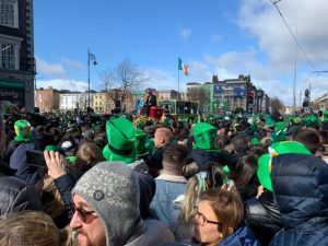 St Patrick's Parade 2019 in Dublin City. Crowd.