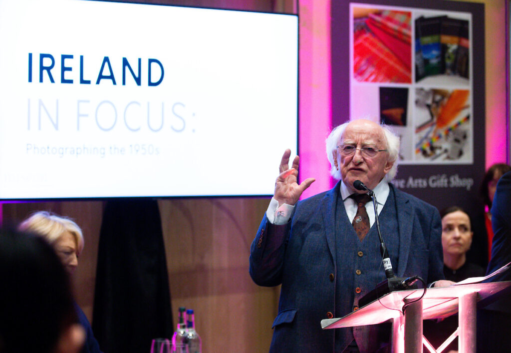 Michael D. Higgins talking, historical photos of Ireland