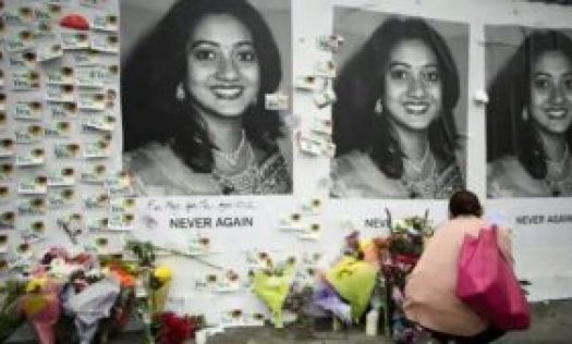 Messages attached to Aches'mural on Richmond Street, which depicted an image of Savita Halappanavar.
