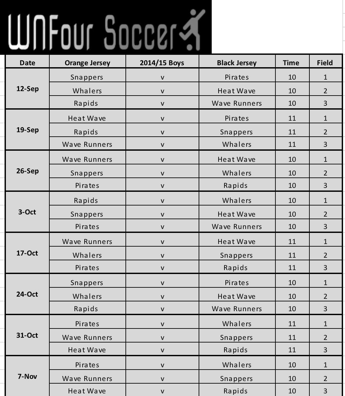 U7/U8 Boys Game Schedule