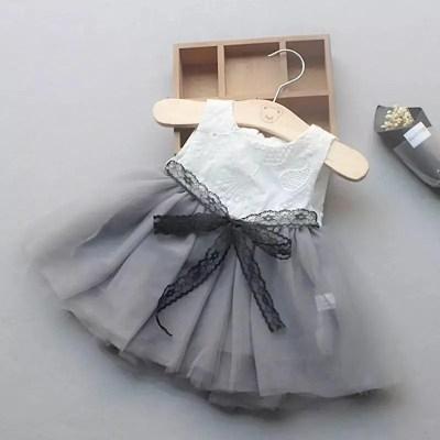 vestido encaje gris