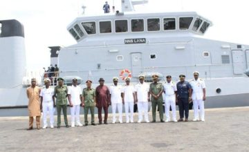 New Nigerian Navy Ship Stops Over In Ghana. Greeted By Ghanaian Officials