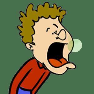 A cartoon boy making funny sounds burping