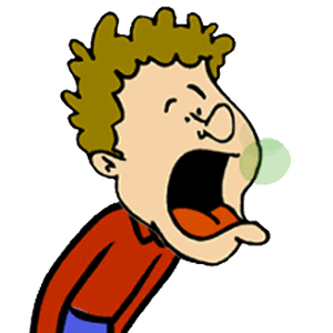 A cartoon boy making funny sounds burping