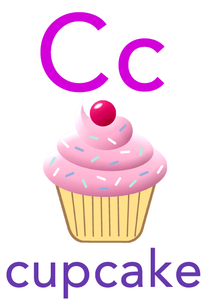 ABC Flashcard for Children - C for Cupcake