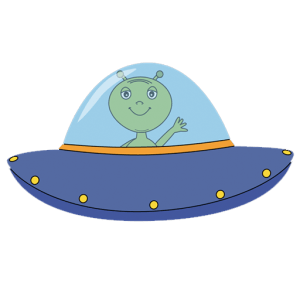 A cartoon UFO making alien funny sounds