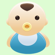Baby Mozart icon depicting a cartoon baby with pacifier in mouth
