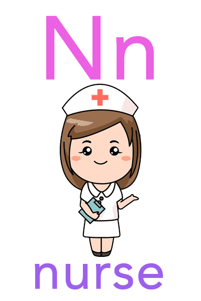 Baby ABC Flashcard - N for nurse