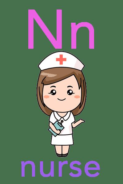 Baby ABC Flashcard - N for nurse
