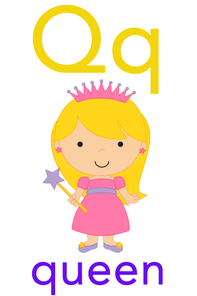 Baby ABC Flashcard - Q for queen