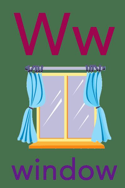 Baby ABC Flashcard - W for window