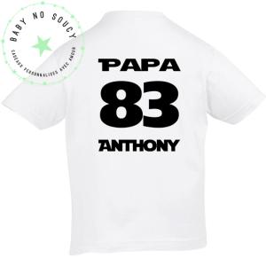 tee shirt papa prenom blanc