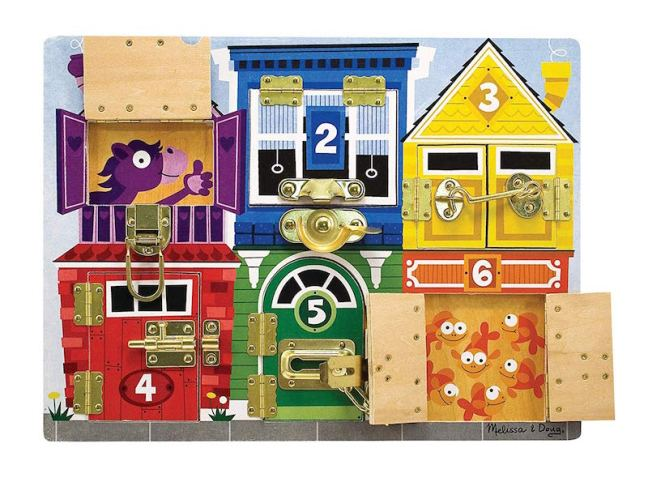 Christmas Gift Guide for 1 - 2 year olds. Melissa and doug Wooden Latches board