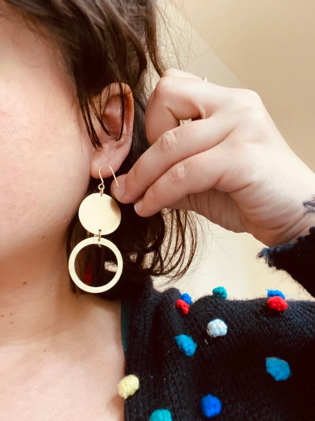 Brass Hoop Earrings made by homeless people supported by Pivot a social enterprise