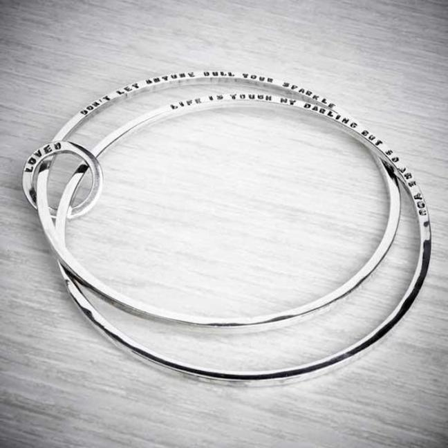 Silver Personalised Double Bangle from Emma White