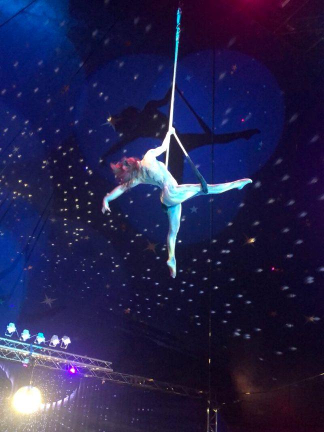 Aerial Acrobat performing in the air at Paulos Circus