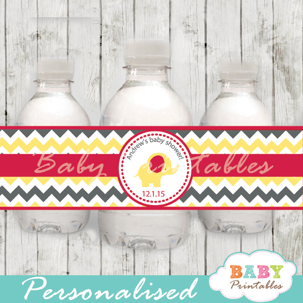 elephant theme baby shower bottle wrappers personalized