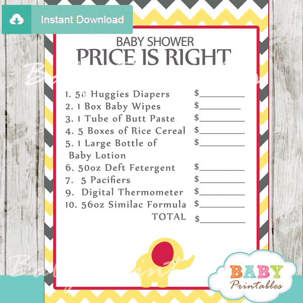 Price is Right Baby Shower Game printable pdf