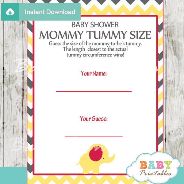 How Big Is Mommys Tummy Shower Game Cards