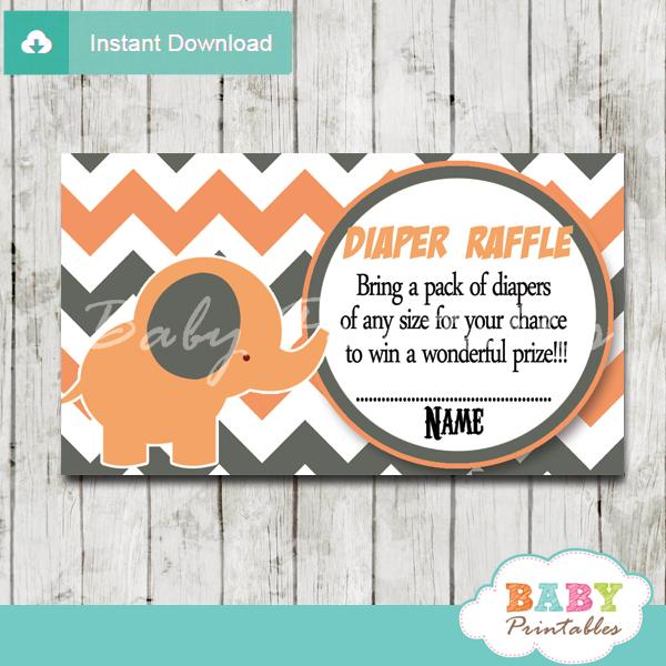 printable peach elephant chevron diaper raffle tickets pdf