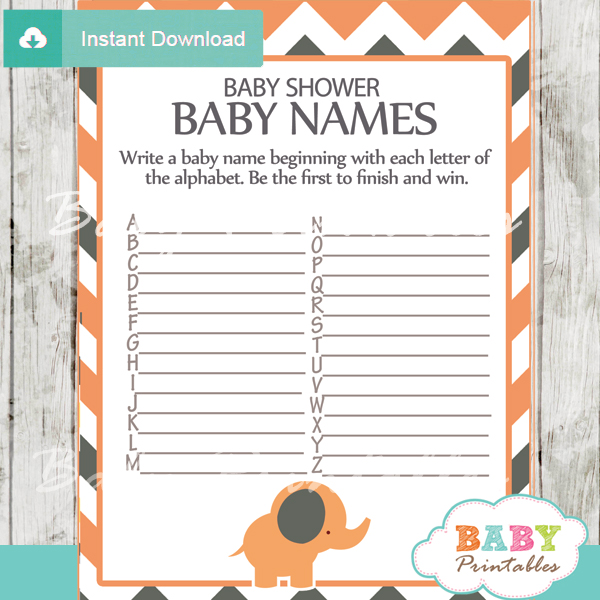 printable Baby Name Race Baby Shower Game
