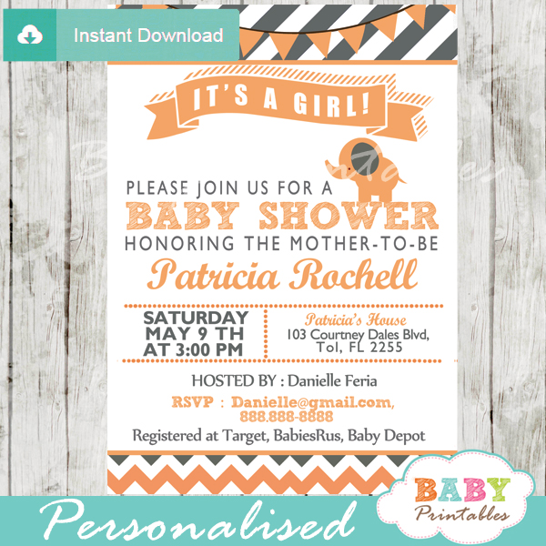 peach girl personalized printable elephant baby shower invite card
