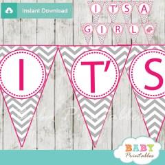 printable elephant baby shower girl banner flags