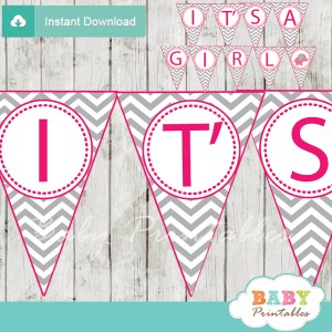 printable elephant baby shower girl banner flags