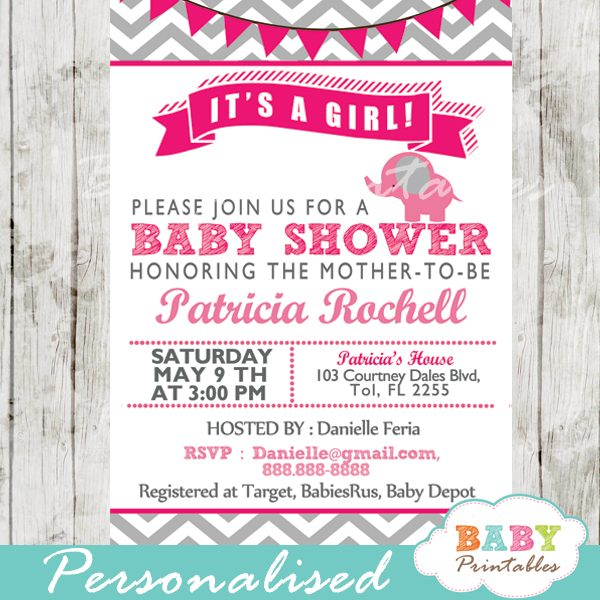 Hot Pink Elephant Baby Shower