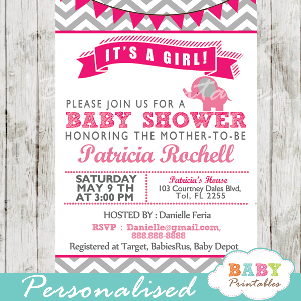 hot pink printable elephant baby shower invitations ideas