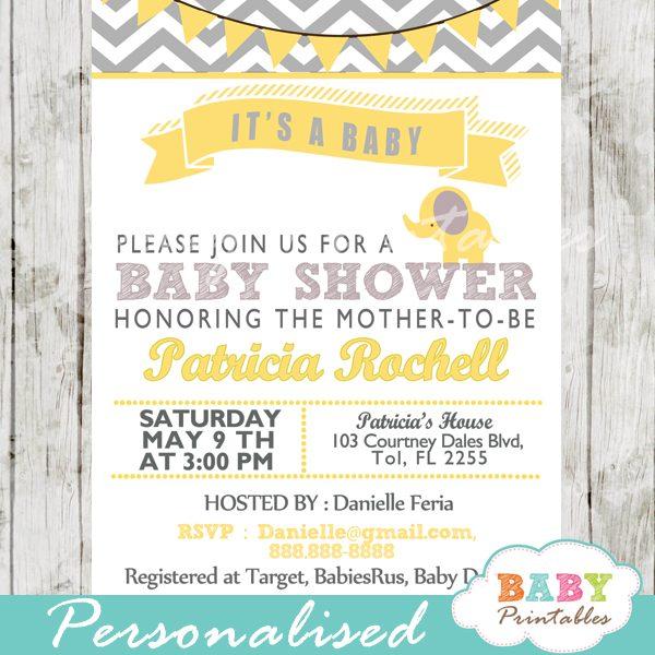 Yellow Elephant Baby Shower Invitation Card D104