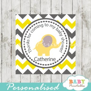 printable custom yellow elephant baby shower gift labels