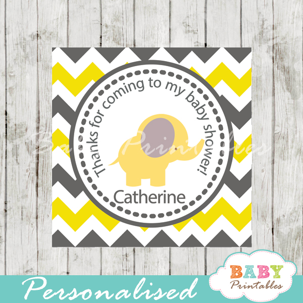 printable custom yellow elephant baby shower gift labels