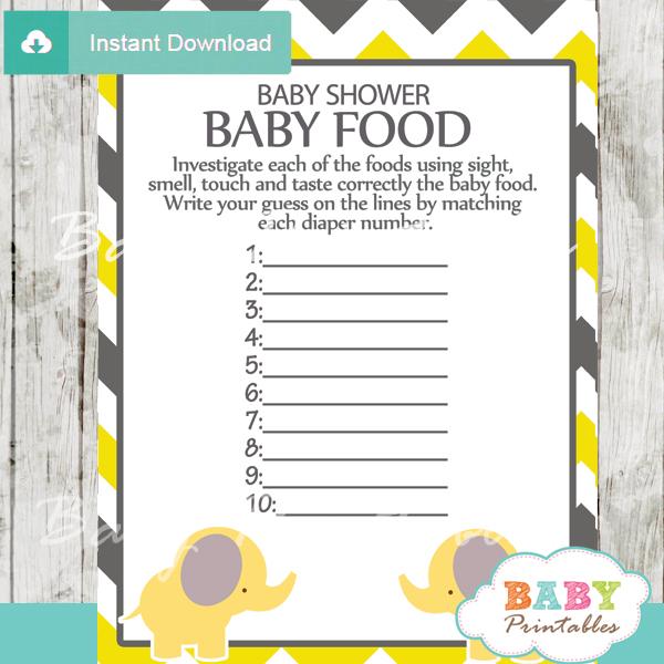 printable baby shower games blind tasting baby food