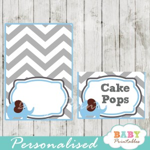 custom printable food labels for baby shower elephant