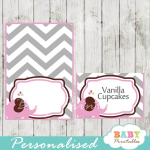 printable food labels for baby shower elephant pink