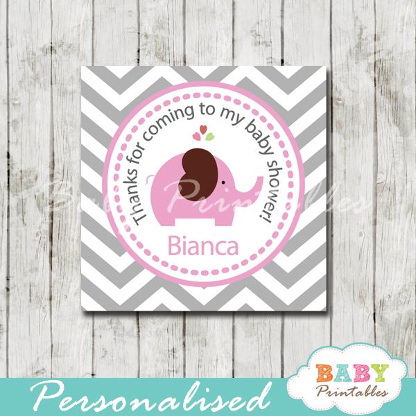 printable custom pink elephant baby shower gift labels