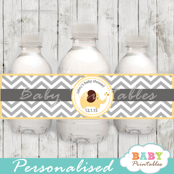 personalized yellow elephant baby shower bottle wrappers