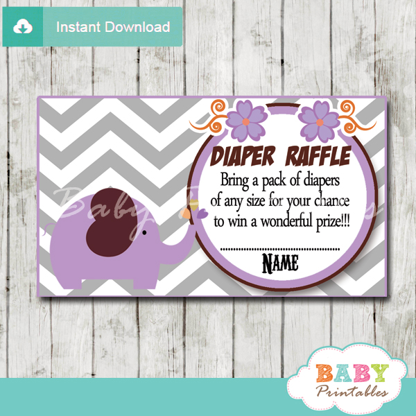 printable purple elephant chevron diaper raffle tickets