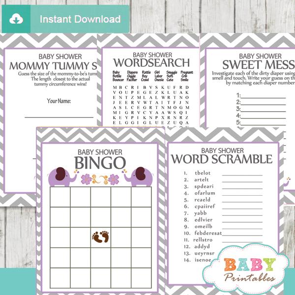 lavender printable elephant baby shower fun games ideas