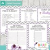 printable purple elephant baby shower games package