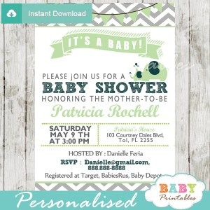 gender neutral lime green personalized printable elephant baby shower invite