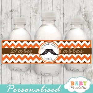 orange diy Printable Mustache Water Bottle Labels